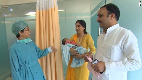 Indian couple Ajay and Babita Bhati who used surrogacy to have a baby after trying 22 years.