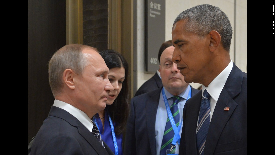 "Russian President Vladimir Putin, left, and US President Barack Obama meet at the G-20 Summit in Hangzhou, China, on Monday, September 5. Obama, who had a 90-minute session with Putin, <a href=""http://www.cnn.com/2016/09/05/politics/barack-obama-g20-summit-asia/"" target=""_blank"">said their talk was ""candid, blunt and businesslike,""</a> and included the issues of cyberintrusions and the Syrian conflict."