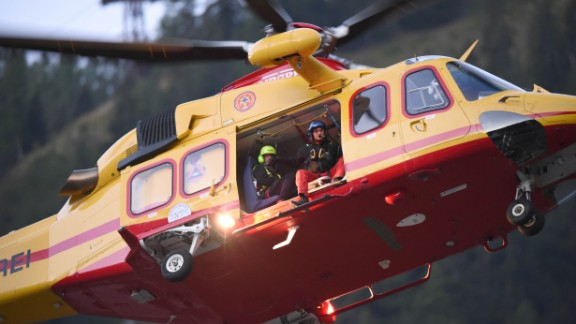 Rescue helicopters were used to help those stranded inside the cable cars.