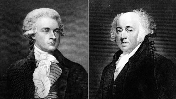 President Thomas Jefferson, left, and his predecessor, President John Adams.