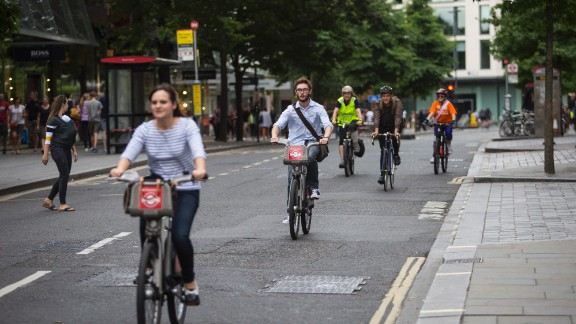 Cyclists enjoy a car-free city center during the annual Ride London event.