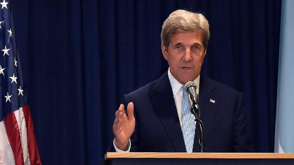 US Secretary of State John Kerry gestures as he speaks during a joint press conference with Kenya's Minister for Foreign Affairs Amina Mohamed in Nairobi on August 22, 2016, following their meeting.