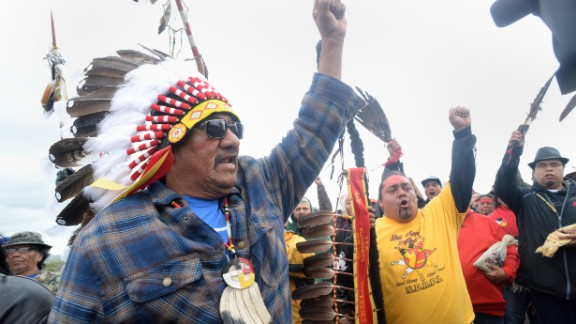 JR American Horse leads a march to the pipeline site on Friday, September 9.