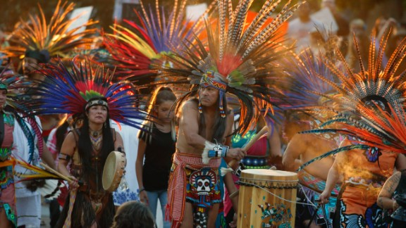 Native Americans head to a rally at the state capitol in Denver on Thursday, September 8. They were showing their support for members of the Standing Rock Sioux tribe in North Dakota opposting the Dakota Access Pipeline.
