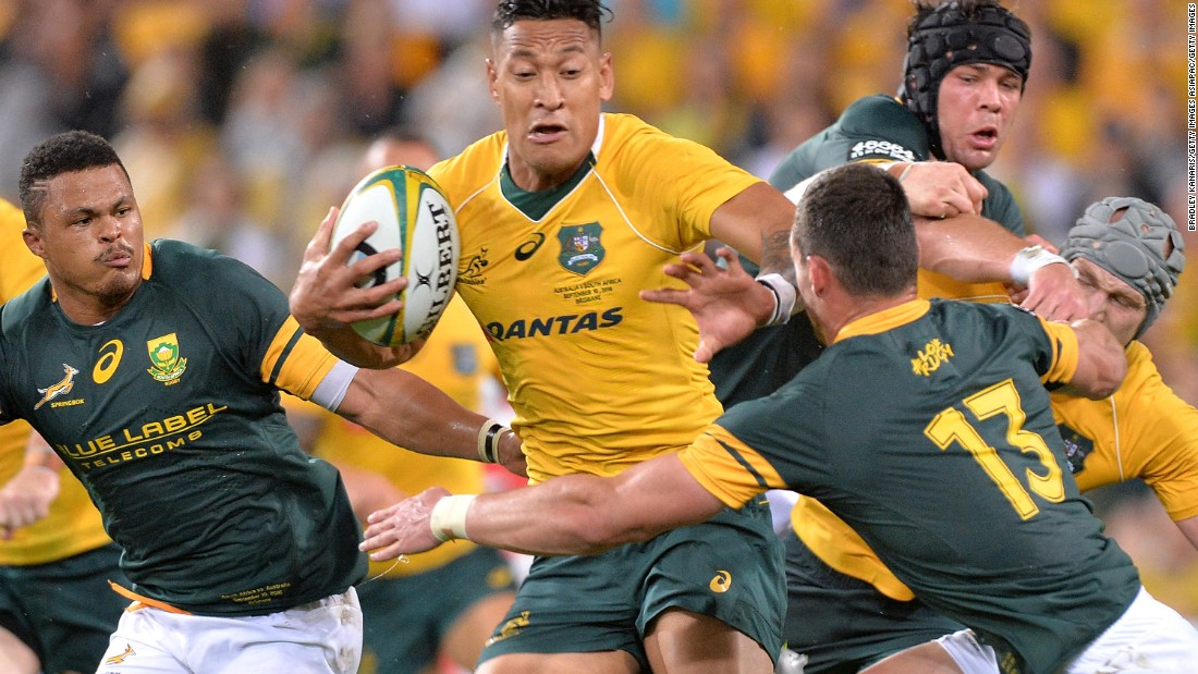 Wallabies player Israel Folau attempts to break away from the defence during the Rugby Championship match between the Australian Wallabies and the South Africa Springboks at Suncorp Stadium on September 10, 2016 in Brisbane, Australia.