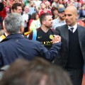 Manchester United manager Jose Mourinho shakes hands with  Manchester City manager Pep Guardiola