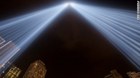 This image of the 9/11 Tribute in Light comes from the 9/11 Memorial taken Saturday evening.