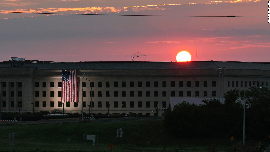 The sun rises over the Pentagon on Sunday prior to a morning ceremony to commemorate the 15th anniversary of the September 11, 2001 terror attacks. The Pentagon Memorial commemorates the 184 lives lost at the Pentagon and onboard American Airlines Flight 77 that day.