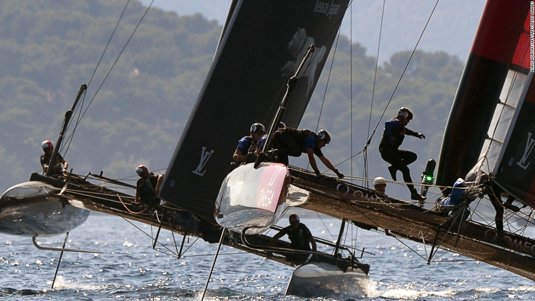 Spectacular action from the second day of the Toulon stage of racing as the Japanese and New Zealand team multihulls compete.