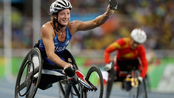 RIO DE JANEIRO, BRAZIL - SEPTEMBER 11:  Tatyana McFadden of the United States wins the women's 400 meter T54 final at Olympic Stadium during day 4 of the Rio 2016 Paralympic Games on September 10, 2016 in Rio de Janeiro, Brazil.  (Photo by Matthew Stockman/Getty Images)
