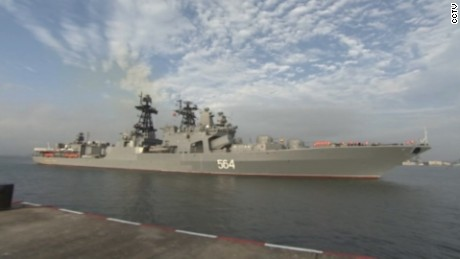 The Russian destroyer Admiral Tributs arrives for exercises with the Chinese navy.