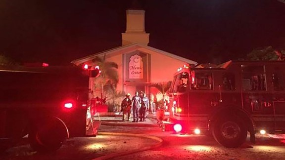 Fire engines line outside the Islamic Center of Fort Pierce, Florida.