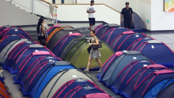 Rows of tents are set up to accommodate Chinese parents at Tianjin University, northern China.