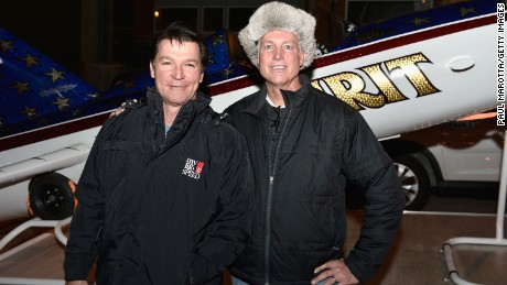 "Stuntman Eddie Braun, left, and Kelly Knievel in 2015 with Braun's ""Evel Spirit"" rocket."