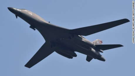 A US B-1B Lancer flies over the Osan Air Base, aiming at reinforcing the US commitment to its key ally in Pyeongtaek on September 13, 2016  / AFP / JUNG YEON-JE        (Photo credit should read JUNG YEON-JE/AFP/Getty Images)