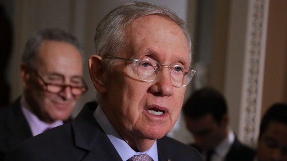 Senate Minority Leader Harry Reid (D-NV) talks to reporters following the weekly Senate Democratic policy luncheon at the U.S. Capitol September 13, 2016 in Washington, DC.
