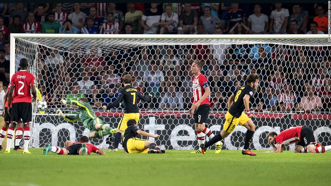 Saul Niguez broke local resistance when volleying home the only goal as last season's Champions League runner-up Atletico Madrid won 1-0 at PSV Eindhoven.