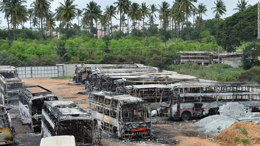 The skeletal remains of several buses that were set on fire, September 13, by an angry mob during clashes resulting from the Cauvery water dispute.