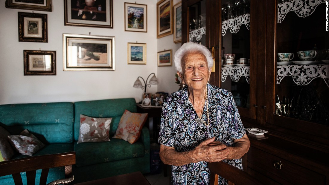 "Italian Luigina Vigiconte, 101, offered this advice: ""Always be optimistic, never bitter, and always be polite with people."" Vigiconte, who has eight sons, lives in Acciaroli, south of Naples, where one in 10 people is a centenarian. Scientists who have studied the area say the Mediterranean diet, genetics, regular exercise and the climate contribute to the longevity of the population."