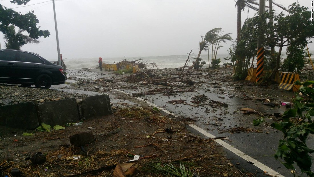Storm damage is seen near Fugang fishing port in southern Taiwan.
