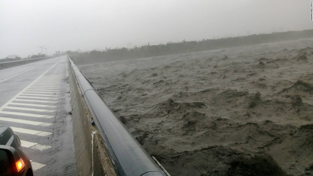 Rough waters seen from the Chung Hwa bridge in Taiwan's Taitung county.