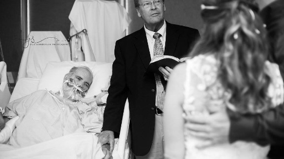Steve Hammonds witnesses his daughter's wedding ceremony from his hospital bed.
