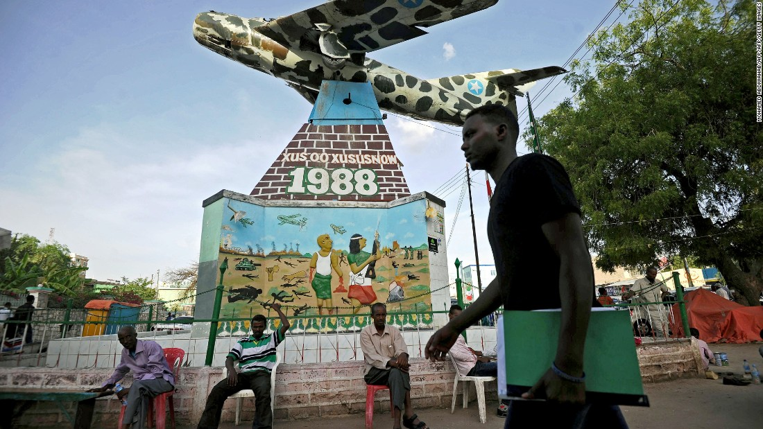 Hargeisa War Memorial in Freedom Square features a representation of a Russian  fighter jet used to bomb the city by former dictator Mohamed Siyad Barre, who was overthrown in 1991.