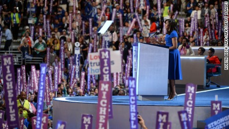 Michelle Obama addresses delegates at the Democratic National Convention at the Wells Fargo Center in Philadelphia, Pennsylvania on July 25, 2016.