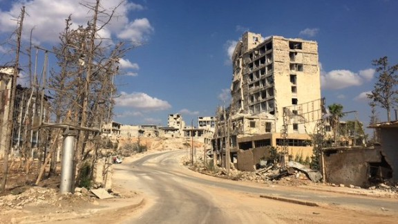 The start of Aleppo's Castello Road, controlled by the Syrian regime forces.