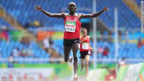 Henry Kirwa of Kenya won the men's T12/13 5,000-meter race.