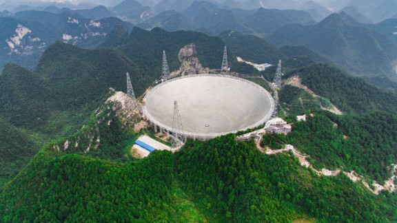 PINGTANG, Sept. 7, 2016  -- Photo taken on Sept. 7, 2016 shows the Five-hundred-meter Aperture Spherical Telescope in Pingtang County, southwest China's Guizhou Province. The FAST, world's largest radio telescope, is expected to be put into operation at the end of September. (Xinhua/Liu Xu via Getty Images)