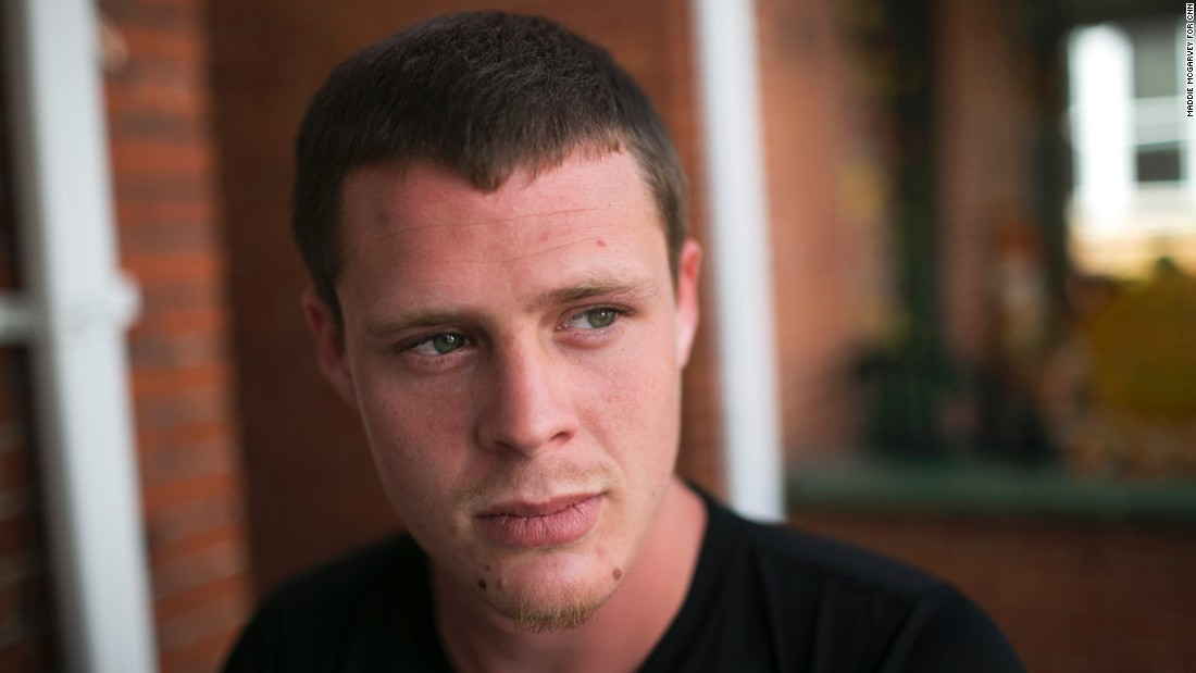 Christian Weaver, 22, sits outside one of The Lifehouse facilities. Weaver was among those who overdosed on August 15. Homeless, he sought Meadows' help four days later. He wants to get clean but struggles with heroin's grip.