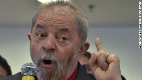 Brazilian former president Luiz Inacio Lula da Silva gestures during a press conference in Sao Paulo, Brazil on September 15, 2016.  Lula da Silva defended himself against corruption charges Thursday, saying the case against him was an attempt to destroy him politically ahead of elections in 2018. / AFP / NELSON ALMEIDA        (Photo credit should read NELSON ALMEIDA/AFP/Getty Images)