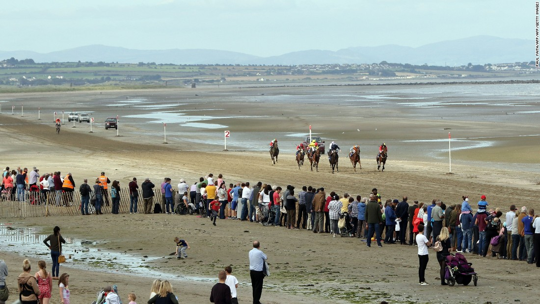 Horses gallop along the Laytown beach course.