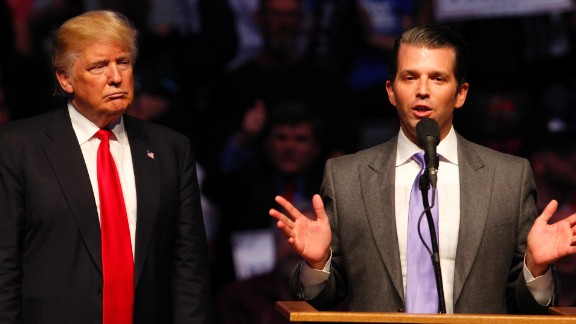INDIANAPOLIS, IN - APRIL 27: Donald Trump Jr. (R) talks about why his dad Republican presidential candidate Donald Trump (L) as he addressing the crowd during a campaign rally at the Indiana Farmers Coliseum on April 27, 2016 in Indianapolis, Indiana. Trump is preparing for the Indiana Primary on May 3rd.   (Photo by John Sommers II/Getty Images)