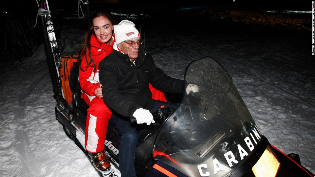 A keen family man, Ecclestone has two daughters from his second marriage to former model Slavica Radic. Here he travels on a snowmobile with the eldest, Tamara.