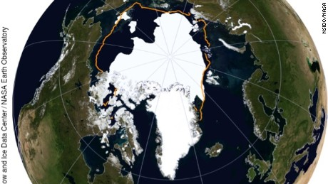 Arctic sea ice as of September 10, compared to average between 1981-2010