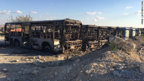 Major destruction at the Ramouseh bus depot.