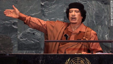 Libyan leader Col. Moammar Gadhafi delivers an address to the United Nations General Assembly at UN headquarters September 23, 2009 in New York City.