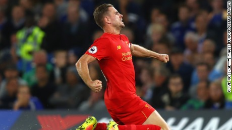 LONDON, ENGLAND - SEPTEMBER 16:  Jordan Henderson of Liverpool celebrates scoring his sides second goal during the Premier League match between Chelsea and Liverpool at Stamford Bridge on September 16, 2016 in London, England.  (Photo by Clive Rose/Getty Images)