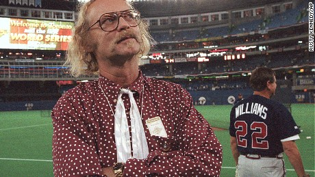 "File-This Oct. 23, 1992, file photo shows Canadian author W.P. Kinsella standing on the baseball field before game five of the World Series between Toronto Blue Jays and Atlanta Braves  in Toronto, Ontario. Kinsella, the author of ""Shoeless Joe,"" the award-winning novel that became the film ""Field of Dreams,"" has died at 81. His literary agency confirms the writer had a doctor-assisted death on Friday, Sept. 16, 2016, in Hope, British Columbia, Canada. The agency did not provide details about Kinsella's health. (AP Photo/Rusty Kennedy,File)"