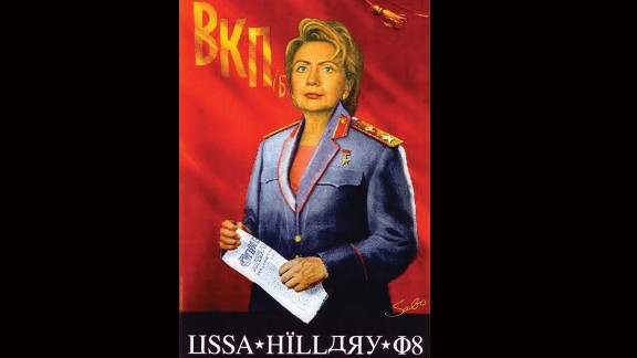 A portrait depicts Clinton as a Soviet leader.