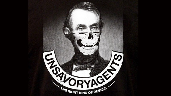 Sabo's logo features Abraham Lincoln with half a skull face.