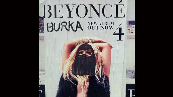 A poster of singer Beyonce wearing a burqa.