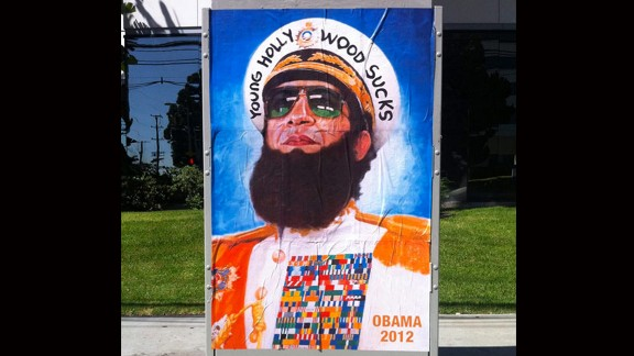 """A poster depicts Obama as Gen. Aladeen, who was played by Sacha Baron Cohen in the comedy film """"The Dictator."""""""