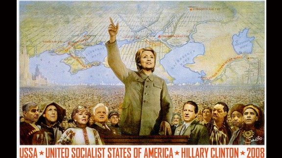 A poster of Clinton as a socialist leader, surrounded by leaders such as President Barack Obama, Secretary of State John Kerry, former Vice President Al Gore and the Rev. Jesse Jackson.