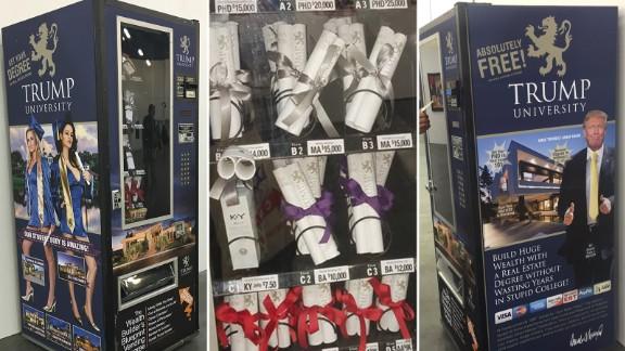 A vending machine dispenses fake Trump University diplomas.
