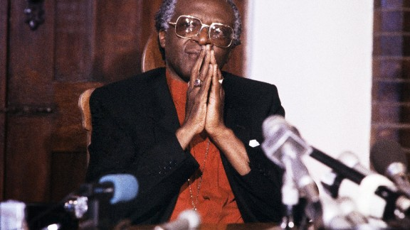During a 1986 news conference in Johannesburg, Tutu calls for economic sanctions against South Africa to fight the apartheid system of racial segregation.