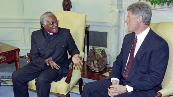 Tutu meets US President Bill Clinton in 1989.