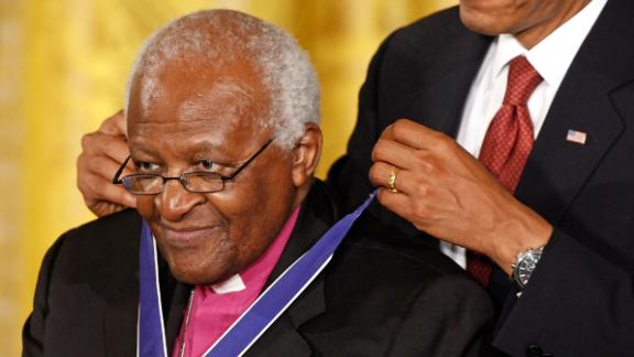 US President Barack Obama presents Tutu with the Presidential Medal of Freedom, the nation's highest civilian honor, in 2009.